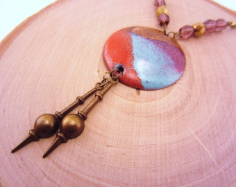 Long necklace. Color block necklace. Upcycled jewelry. Red, gold, aqua, deep plum. February birthstone, amethyst beads. Gift for women.