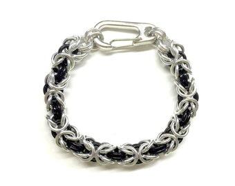 Black Silver Chain Bracelet. Cool Mens Bracelet. Metal Chainmail Bracelet. Chainmaille Jewelry. Unisex Bracelet. Byzantine Bracelet.