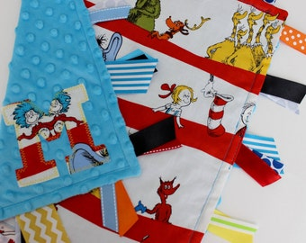 Taggie, blanket, baby, gift, personalized, Dr. Seuss, Cat in the Hat, minky, ribbon, lovey, sensory, red
