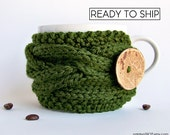 Coffee Sleeve, Coffee Cozy, Coffee Cup Sleeve, Green Tea Cozy, Coffee Cup Cozy, Coffee Mug Cozy, Coffee Mug Sleeve, Vegan Gift, Coffee Decor
