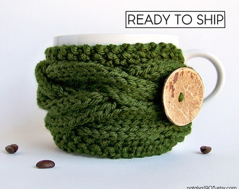 Coffee Sleeve, Coffee Cozy, Coffee Cup Sleeve, Green Tea Cozy, Coffee Cup Cozy, Coffee Mug Cozy, Coffee Mug Sleeve, Vegan Gift, Coffee Decor