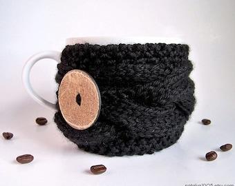 Black Coffee Mug Cozy - Coffee Cup Sleeve - Tea Cozy - Knit Coffee Cozy - Cup Cozy - Cup Warmer