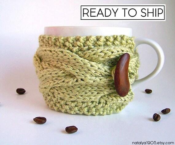 Last Minute Gift, Coffee Mug Cozy, Coffee Cozy, Tea Cozy, Gifts Under 20, Coffee Cup Sleeve, Coffee Cup Cozy, Coffee Mug Sleeve, Sage Green