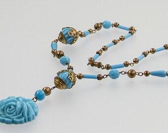 Art Deco Glass Necklace - 1930