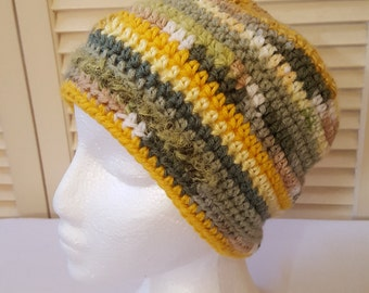 Crochet Striped Hat/ Cap/ Beanie /Yellow And Greens/ Adult/ Womens Crochet Skull Cap/ Handmade Winter Accessories