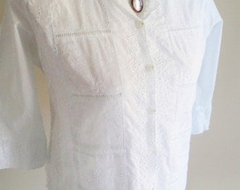vintage lace top, embroidered top, embroidered clothing, white lace top, embroidered shirt, victorian blouse, victorian costume