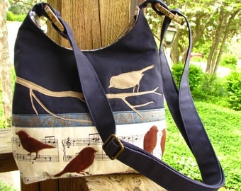 Melodious Birds Tote/Shoulder Bag/Bottom of Waxed Navy Canvas/ Large inside zipper pocket / 3 large open  pockets/Optional Waxed Fabric