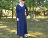 Womens Organic Cotton Maxi Dress Short or Long Sleeve Dress Made to Order in the USA - Mill Creek