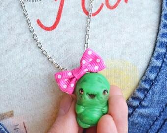 Mogga Napianna- Necklace Anthropomorphic mascot snot pet pendant green creature mucus art doll ooak pure sculpt