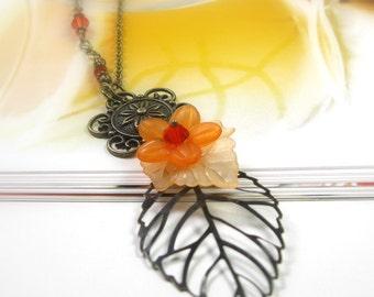 Summer Flower Necklace, Apricot Orange Antiqued Brass Vintage Style Floral Necklace, Nature, Swarovski, Woodland, Boho, Gifts for Gardeners