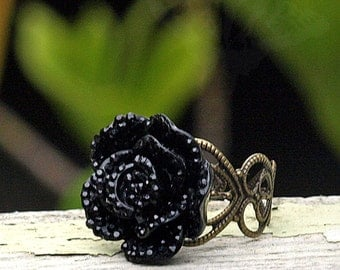 Black Glitter Rose Ring, Brass Filigree Adjustable Ring, Boho, Gothic Rose Ring