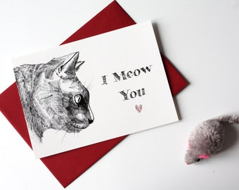 I miss you card - I Meow You