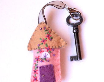 Wool Felt House Key Chain in peach, tan and mulberry with coral, green and purple floral Embroidered Floral and Beaded Embellishments, 3x2""