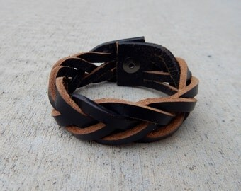 Braided Leather Cuff Bracelet, Black with Gunmetal Snap FREE SHIPPING (G2P1107)
