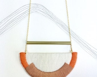CRAVEN - Linen, Thread and Gold Necklace - Rose and Coral