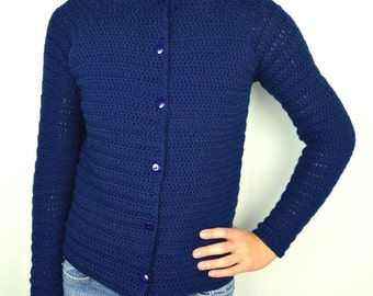 First-Timer Cardigan Sweater - 9 Sizes - PDF Crochet Pattern - Instant Download