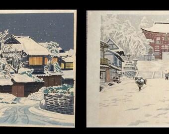 Tokuriki Tomikichiro - 2 vintage print - winter - Japanese Woodblock Prints