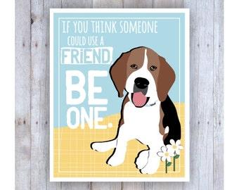 Classroom Art, Childrens Wall Art, Beagle Print, Beagle Puppy, Beagle Art, Inspirational Dog Art, Print for Kids, Motivational Art