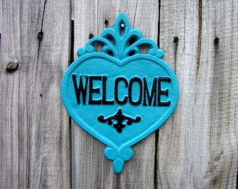 Welcome Plaque, Cast Iron, Turquoise, Black, Welcome Sign, Heart Plaque, Door Sign, Ornate Welcome Plaque, Indoor, Outdoor, Welcome