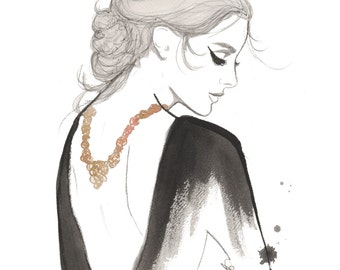Olivia, print from original watercolor and mixed media fashion illustration by Jessica Durrant