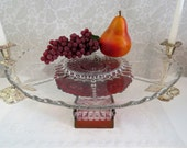 "Large 14"" Glass Footed Cake Stand Made from Vintage Ruby Red Pressed Glass, for 12"" Wedding Cake"