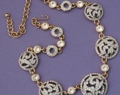 Gorgeous Vintage Floral Disk Necklace with Diamante Rhinestone Crystals /Floral Rhinestone Necklace