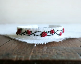 Rose and Thorns Textile Art Cuff Bracelet - Red Roses and Black Thorns Textile Cuff