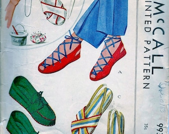1940s McCall  Pattern Advance 993 *  Soft Slippers in Sandals and Moccasin Style Shoe Pattern * Size 5 - 6