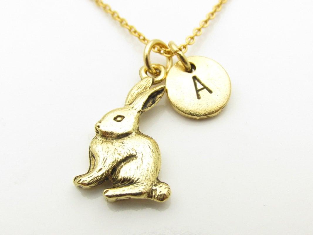 rabbit necklace rabbit charm necklace easter rabbit gold