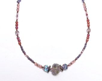 Glass Beaded Necklace, Art Bead Long Necklace, Plum Orchard