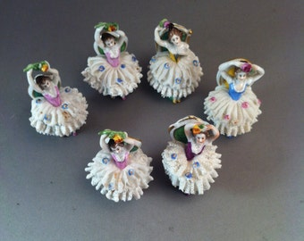 Volkstedt Germany Dresden Set of 6 Lace Ballerina Sitting Porcelain Figurines, German Porcelain, Dresden Ballerinas, Porcelains, *USA ONLY*