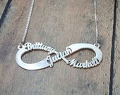 Infinity Names Necklace, Kid's Names Infinity Necklace, 3 name infinity necklace, infinity necklace with names