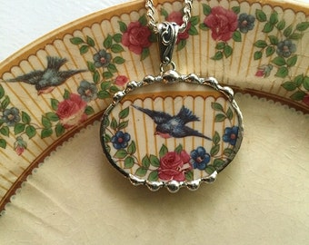 Broken china jewelry oval necklace pendant antique rare bluebird china made from a broken plate