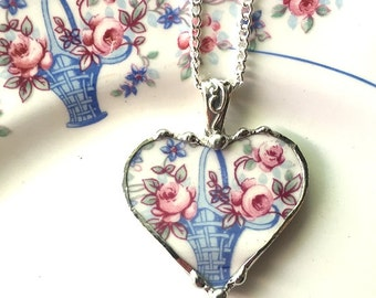 Broken China Jewelry heart pendant necklace antique pink roses in blue basket unique china recycled china