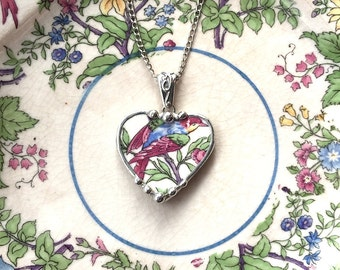 Broken china jewelry heart shaped necklace pendant antique bird of paradise rare chitz china