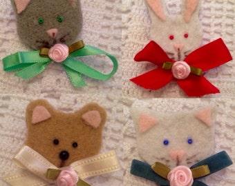 animal felt brooches cats bunny bear