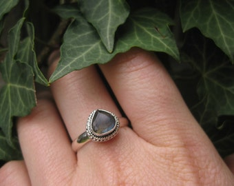 sterling silver mystical labradorite FOREST HEART ring