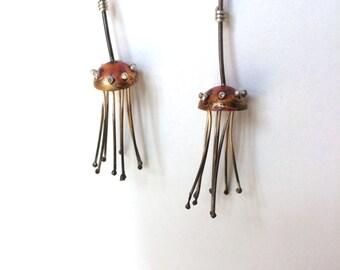 Sterling Silver and Copper Jellyfish Earrings, Mermaid Earrings, Ocean Inspired, Whimsical, Bohemian