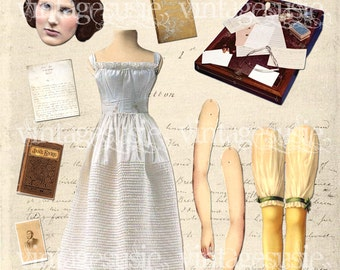 Bronte Sisters Art Paper Doll Collage Sheet of AUTHOR 'CHARLOTTE BRONTE' digital download Jane Eyre
