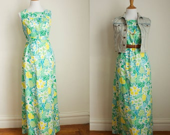 Vintage 70s Summer Polyester Floral Maxi Dress Size Small