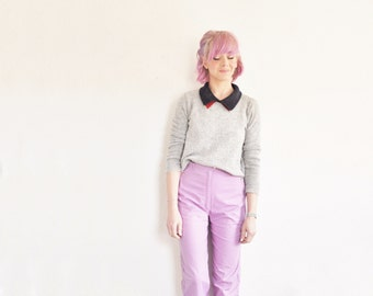 high waist purple trousers . wide leg lavender pants .extra small.xs