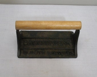 Vintage Albert E Price Cast Iron Bacon Press with Wood Handle