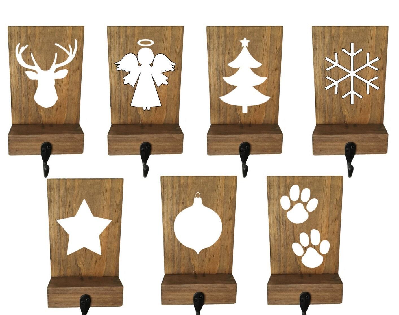 stocking holders reclaimed wood set of 6 mantle decor. Black Bedroom Furniture Sets. Home Design Ideas