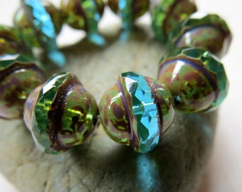NEW AQUA BLUE Saturns . Czech Picasso Glass Beads . 12 mm by 10 mm (10 beads)