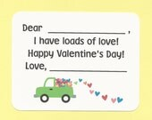 Pick Up Truck Full of Hearts - Fill in the Blanks Valentine's Day Cards - Great for Preschool Boys and Girls