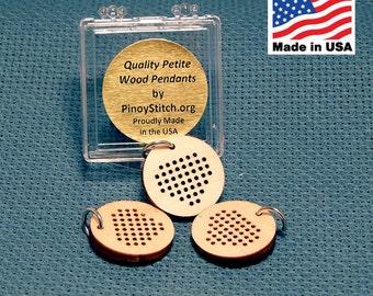 "DIY Petite HEART Wood Blank Pendants Set of 3 Heart 3/4"" Diameter with Stainless Steel Jump Ring"