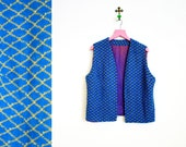 Vintage 1970s  Blue Patterned Open Front Vest