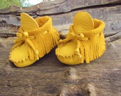 "Baby Moccasins By Desi, Mustard Yellow Buffalo Leather, 5"" Long, Girl, Boy, Tribal, Aztec, First Thanksgiving Outfit Boots, Autumn Shoes"