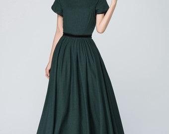 green linen dress, prom dress, fitted waist dress, party dress, pleated dress, short sleeve maxi dress, emerald green dress, gift ideas 1561