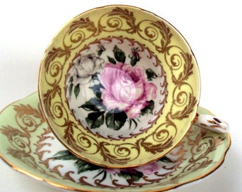 Vintage EB Foley Bone China Tea Cup, Saucer, England 1940s,Cream Borders, Gold Scroll Leaves,White Background with Roses,Dining Serving,Pink
